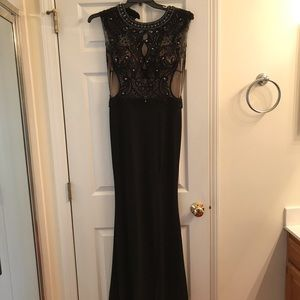 black beaded evening gown or prom dress